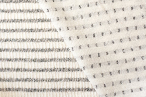 Cotton Double Knit - Cream and Gray (1/2 yard)