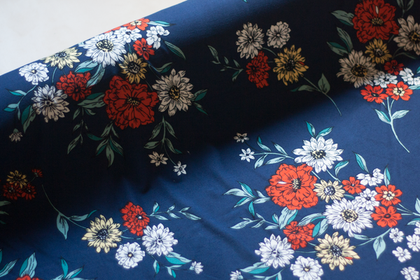 Double Brushed Polyester Knit - Navy Fall Florals (½ yard)