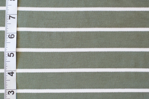 French Terry - Hunter Green and White Stripes (1/2 yard)