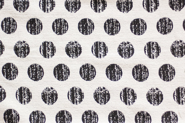 8.5oz Cotton Blend Jacquard - Reversible Cream and Black Spots (1/2 yard)