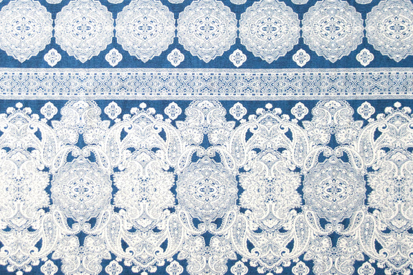 Rayon Challis - Royal Blue and White Damask Print (½ yard)
