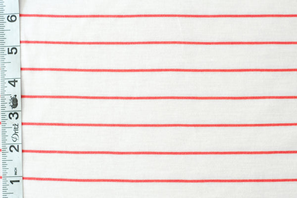 Organic Cotton Jersey - White and Red Stripes (1/2 yard)