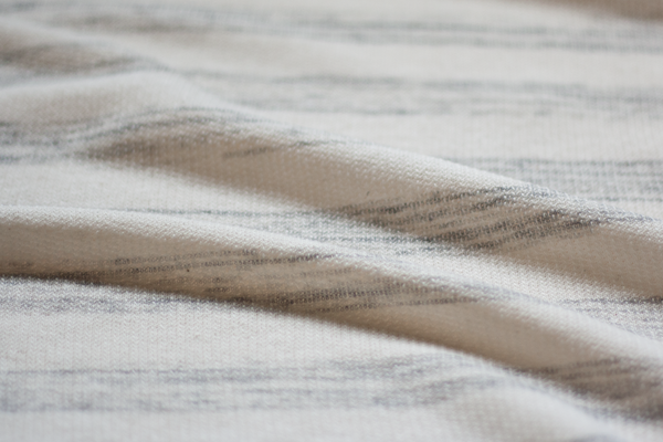 Looped Back Sweater Knit - Oatmeal and Gray Painterly Stripes (½ yard)