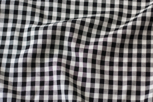 Rayon Challis - Black and White Gingham (1/2 yard)