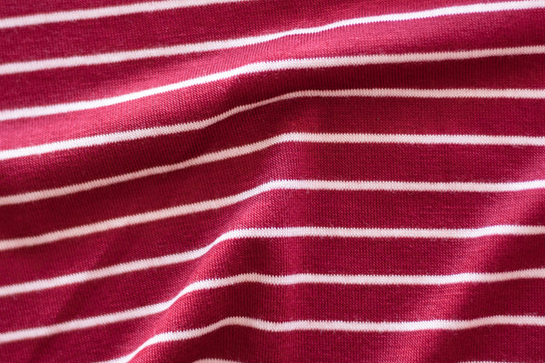 Rayon Spandex Jersey - Cranberry Stripes (1/2 yard)