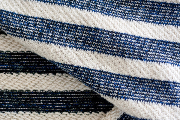Heavyweight Cotton Sweater Knit - Navy and Cream Stripes (1/2 yard)