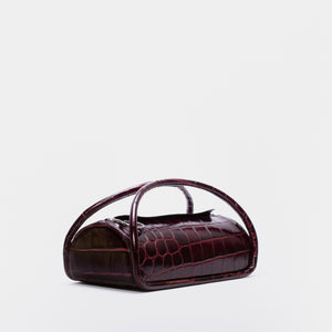 ALEX TOP ZIP BAG GLOSSY CROC BEETROOT