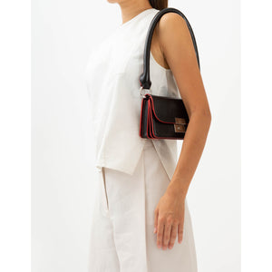 AMANDA SHOULDER BELT BAG LIZARD BLACK/RED