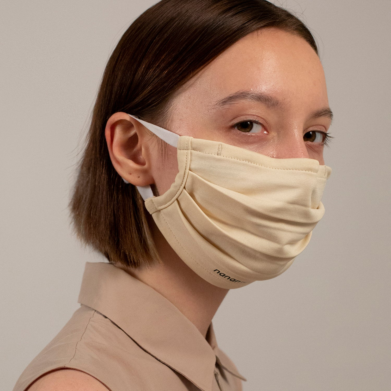 PLEATED KNIT FACE MASK BONE (4-PACK)