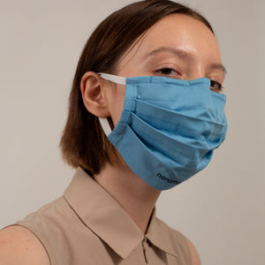 PLEATED WOVEN FACE MASK SKY BLUE (4-PACK)