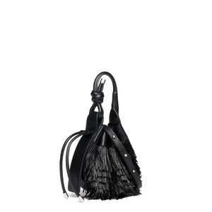 INA MINI CROSSBODY RAFFIA FRINGE BLACK