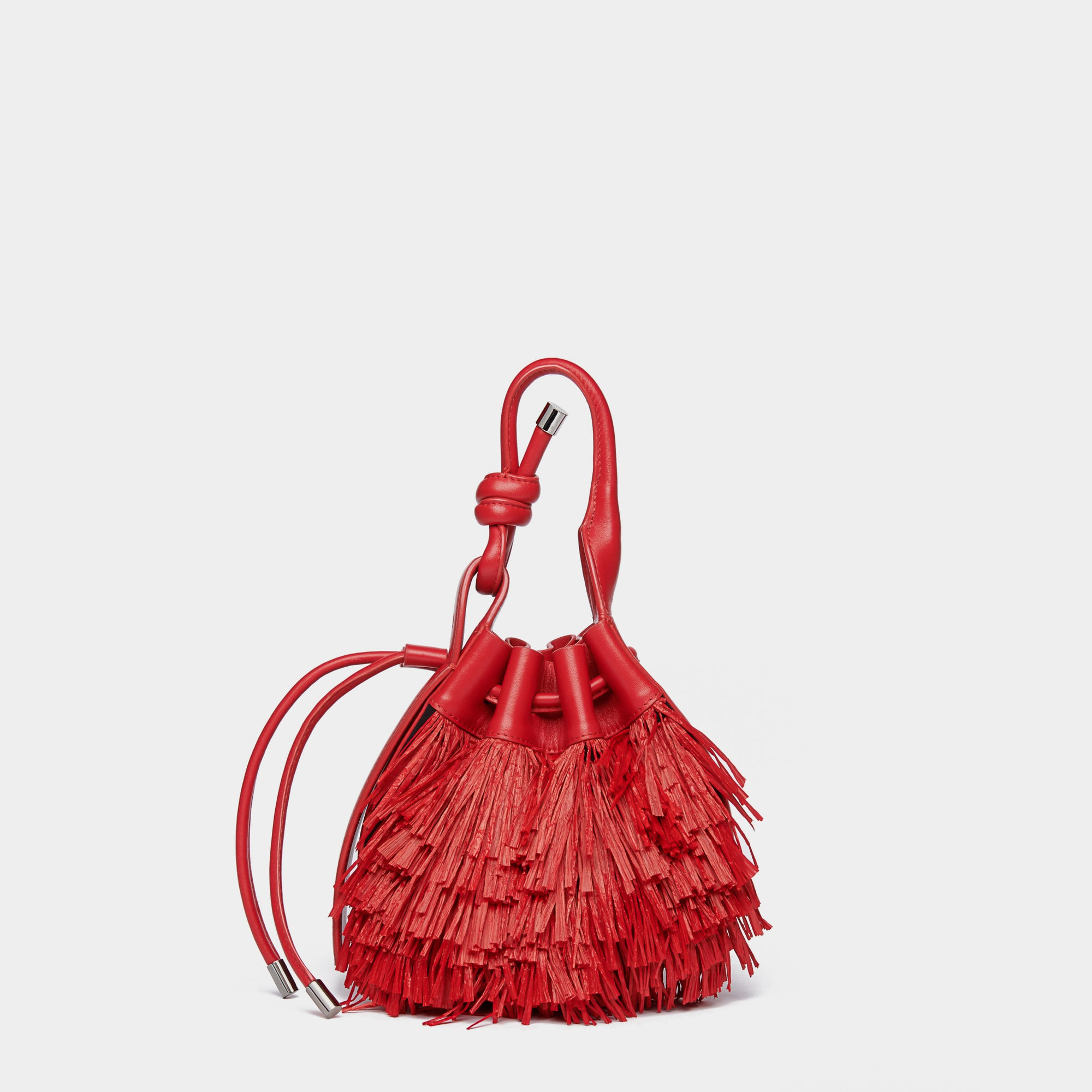 INA MINI CROSSBODY RAFFIA FRINGE RED