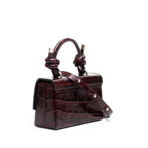 MARY BAG MINI GLOSSY CROC BEETROOT