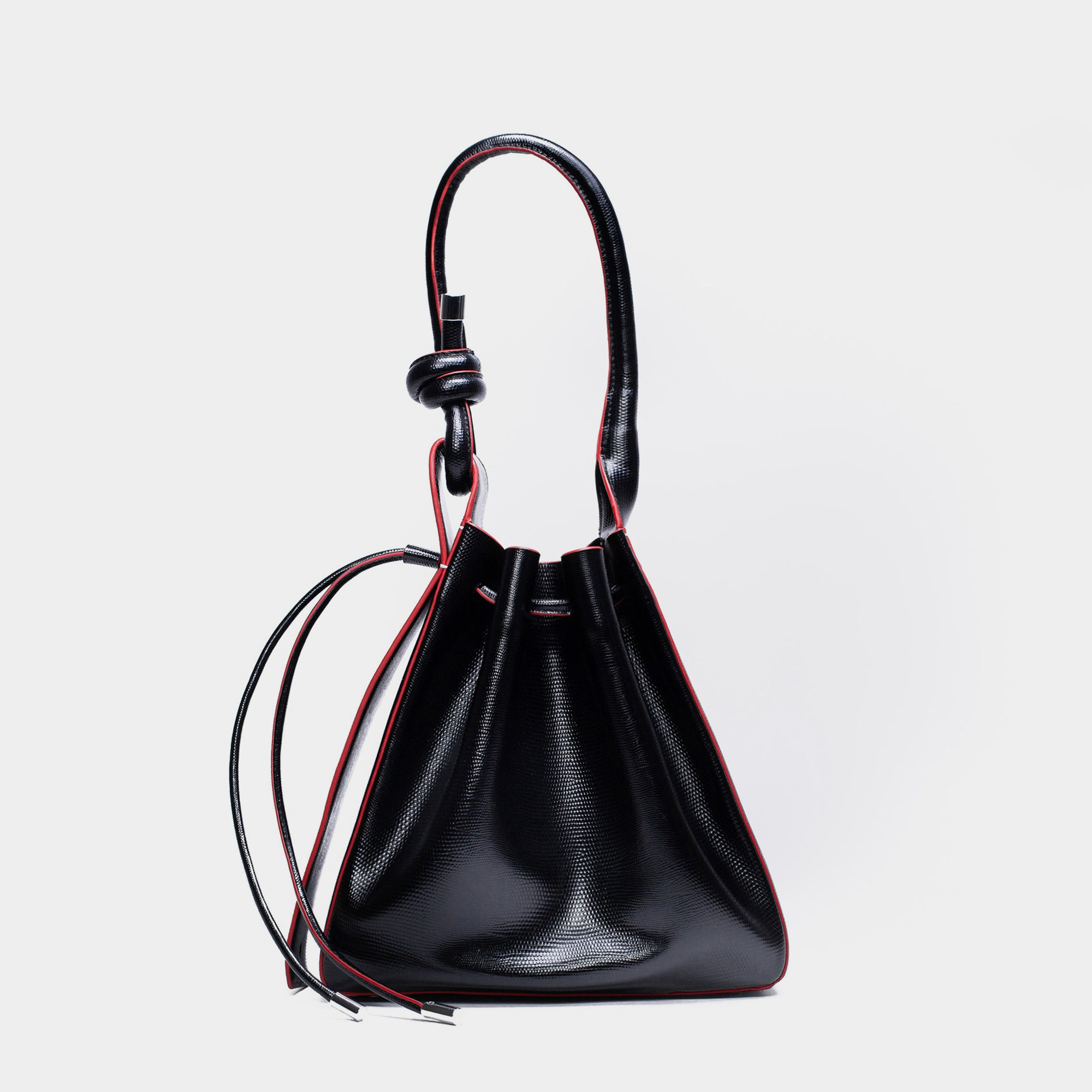 TINA BAG LIZARD BLACK/RED