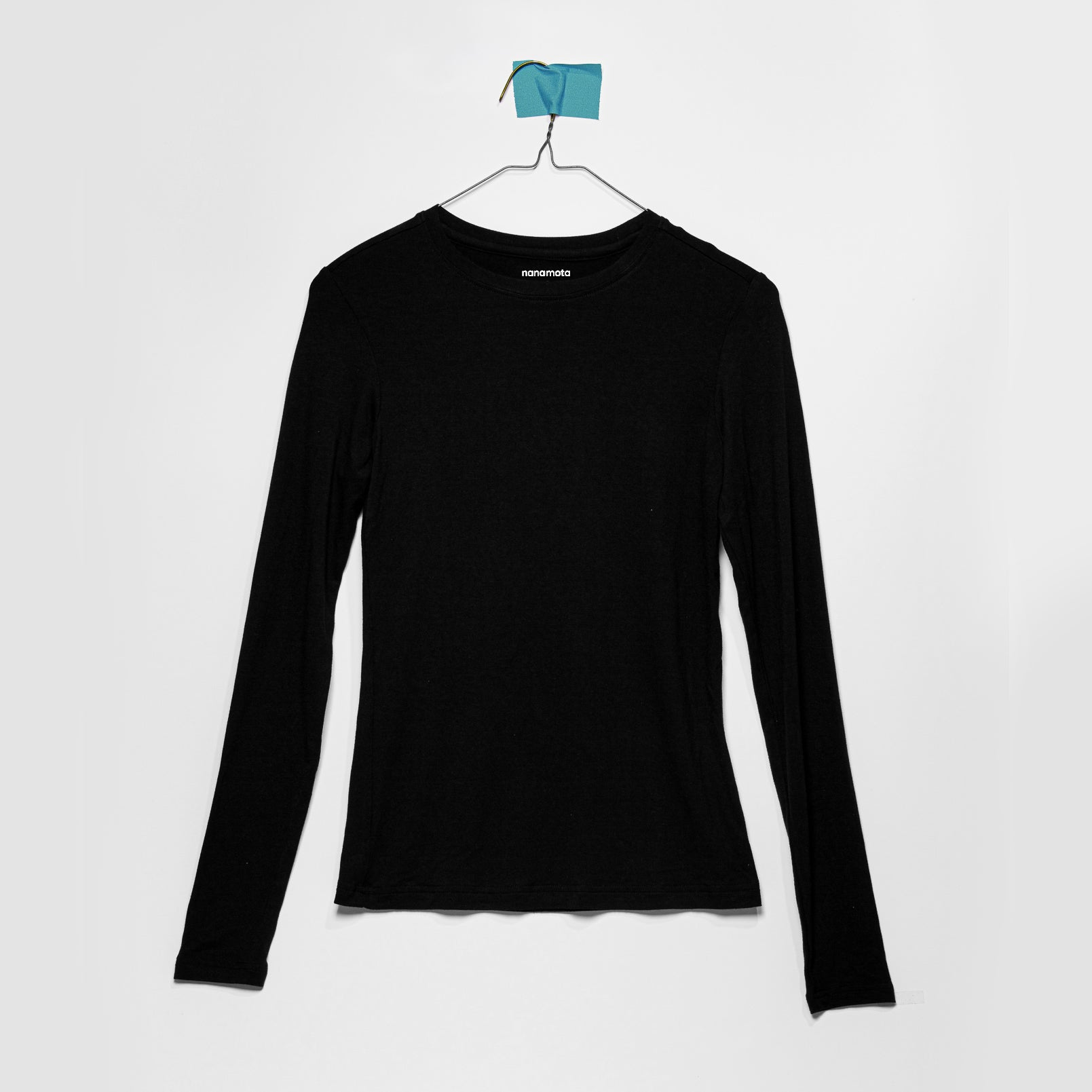 'THE SOFTEST TEE' WOMENS FITTED LONG-SLEEVE BLACK