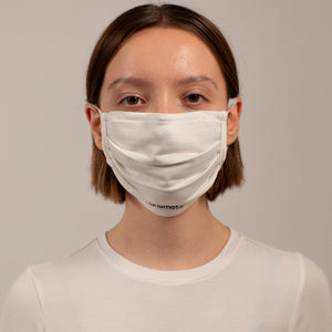 PLEATED KNIT FACE MASK WHITE (4-PACK)
