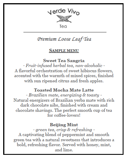 Verde Vivo Tea Event Menu