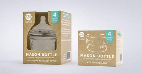 Mason Botle Makes Sustainable Glass Baby Bottle with Recyclable Packaging