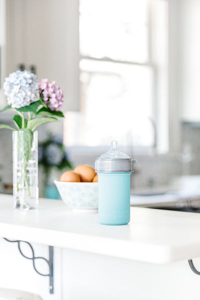 silicone baby bottle bpa free mason jar glass compatible slow flow nipple breast milk feeding baby lightweight holding