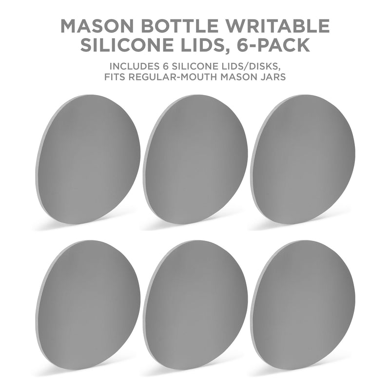 Writable Silicone Mason Jar Disks, 6-Pack - Mason Bottle