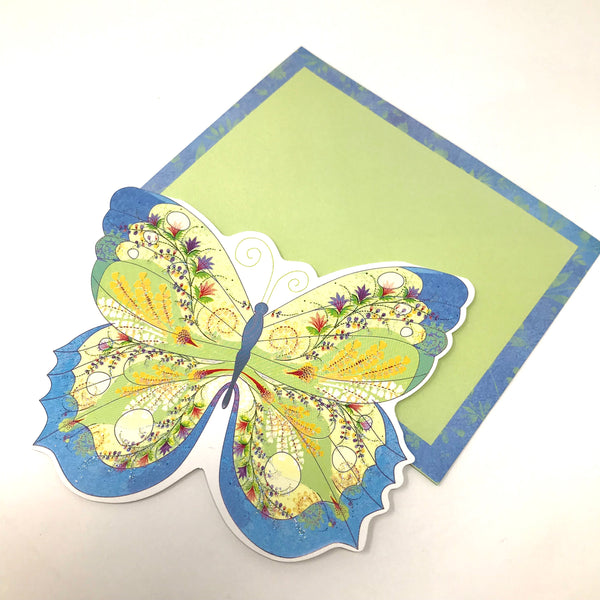Boxed Embossed Glittered Diecut Notecards - Butterfly