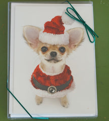 Chihuahua in Santa Suit Christmas Card