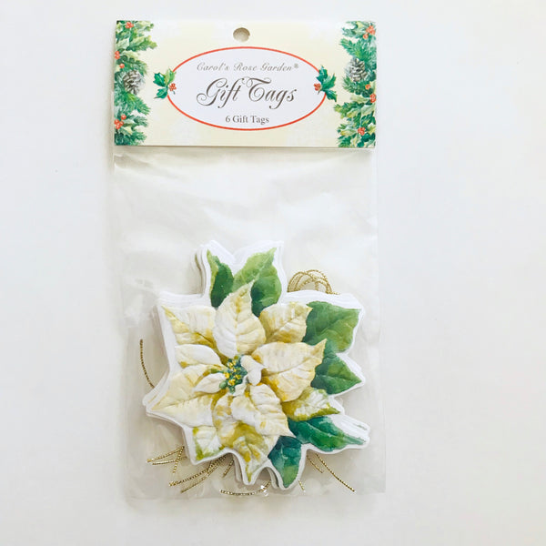 white poinsettia gift tag
