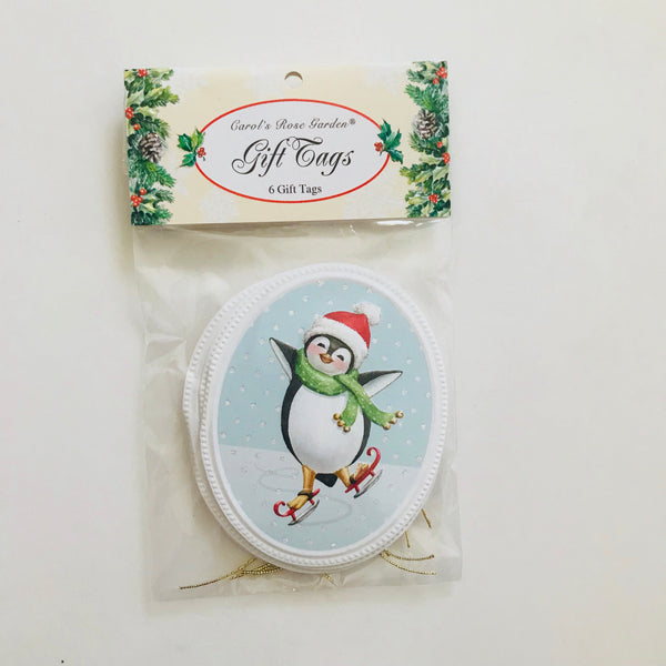 penguin skating gift tag made in usa