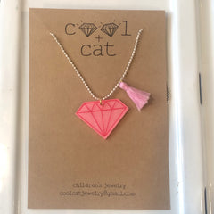 Cool Cat Children's Pink Diamond Necklace