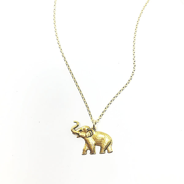 GOLD PLATED elephant charm necklace