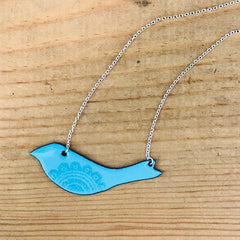 Enamel Bird on Sterling Silver Chain