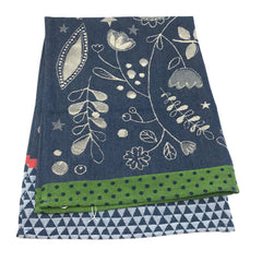 French Tea Towel Flowers Botanical Denim Blue