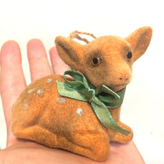 deer flocked ornament