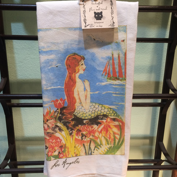 Flour Sack Towel - Los Angeles Mermaid