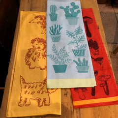 Tea Towel - Made in France-Cactus, Dog, Mushrooms