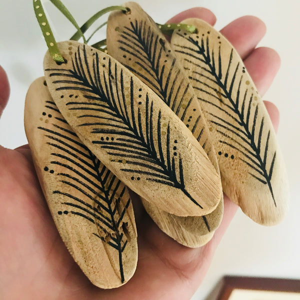 Hand Painted Feather Ornament