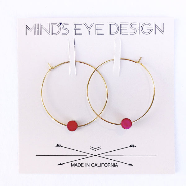 Hoop Earrings - Enameled Bead - Color Story