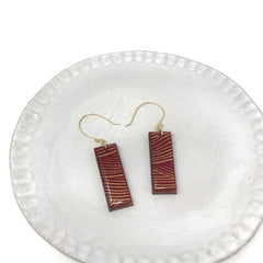 Deep Red Wood + Paper Earrings
