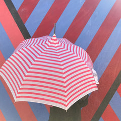 Pink and White Striped Umbrella