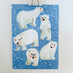 polar bear single holiday card