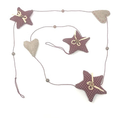 Country Christmas Garland - Hearts and Stars