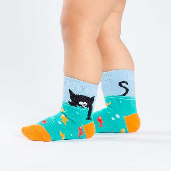 Cat and Goldfish Toddler Crew Socks