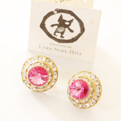 Vintage Pink Crystal Earrings