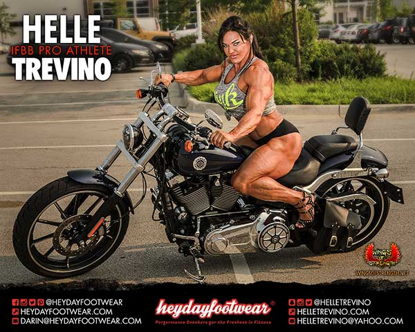 IFBB professional bodybuilder Helle Trevino riding a motorcycle