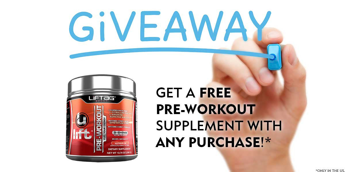 Giveaway - Get a free pre-workout supplement with any purchase!