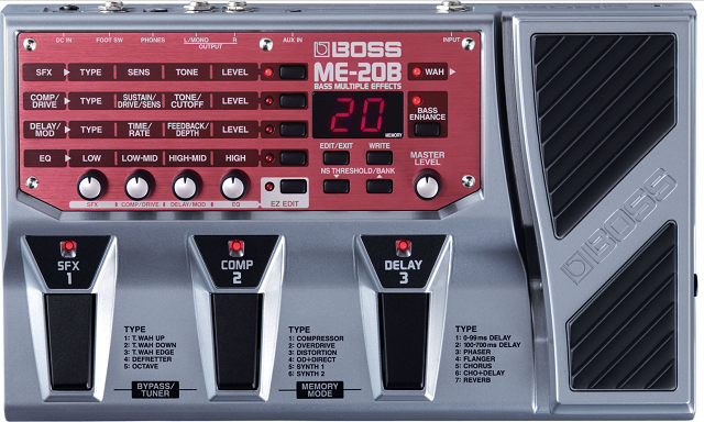 boss me 20 b bass multi effects processor front