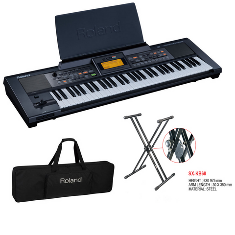 Roland E09 IN Interactive Keyboard Arranger Bundle With Stand and Gig Bag