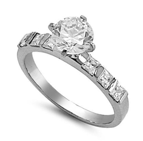 Stainless Steel 2 ct. Round CZ W/Princess Cut Accents Engagement Ring