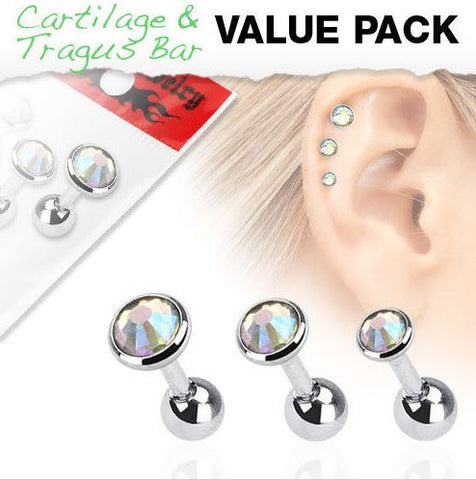 3 Pcs Value Pack Assorted Cartilage Earrings w/Aurora Borealis Press Fit Gem