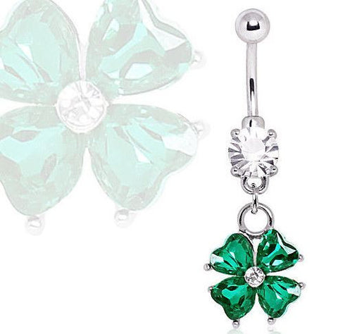 316L Surgical Steel Navel Ring W/ Four Leaf Clover Dangle ST. Patty's day
